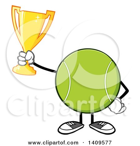 Clipart of a Cartoon Tennis Ball Character Mascot Holding a Trophy - Royalty Free Vector Illustration by Hit Toon