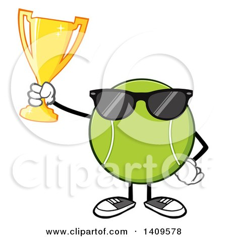 Clipart of a Cartoon Tennis Ball Character Mascot Wearing Sunglasses and Holding a Trophy - Royalty Free Vector Illustration by Hit Toon