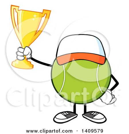 Clipart of a Cartoon Tennis Ball Character Mascot Wearing a Hat and Holding a Trophy - Royalty Free Vector Illustration by Hit Toon
