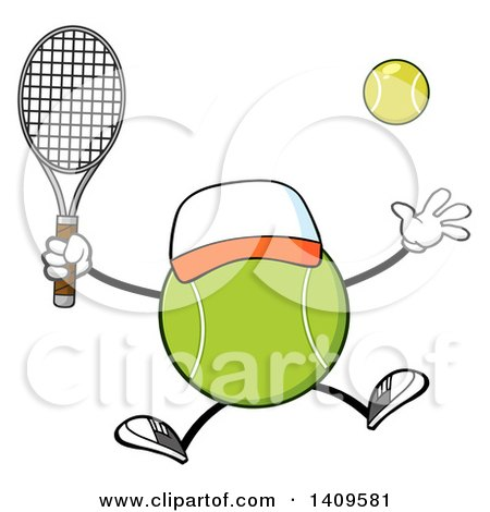 Clipart of a Cartoon Tennis Ball Character Mascot Jumping - Royalty Free Vector Illustration by Hit Toon