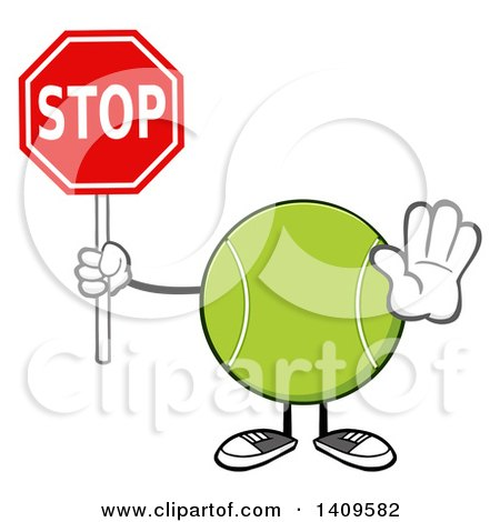 Clipart of a Cartoon Tennis Ball Character Mascot Holding a Stop Sign - Royalty Free Vector Illustration by Hit Toon