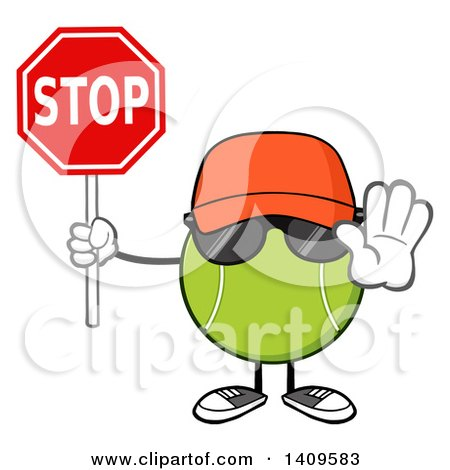 Clipart of a Cartoon Tennis Ball Character Mascot Wearing a Hat and Sunglasses, Holding a Stop Sign - Royalty Free Vector Illustration by Hit Toon