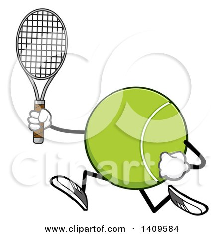 Clipart of a Cartoon Tennis Ball Character Mascot Running - Royalty Free Vector Illustration by Hit Toon