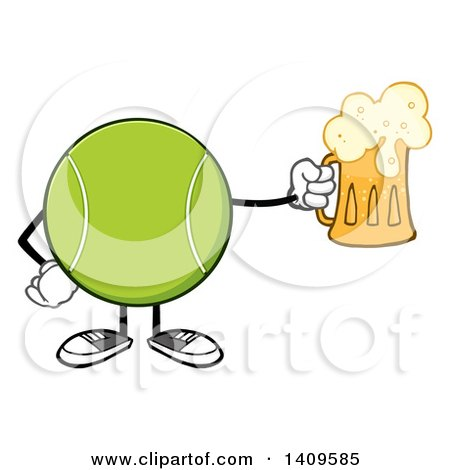 Clipart of a Cartoon Tennis Ball Character Mascot Holding a Beer - Royalty Free Vector Illustration by Hit Toon