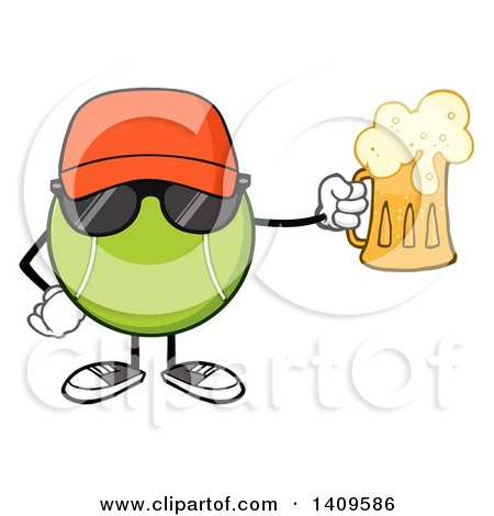 Clipart of a Cartoon Tennis Ball Character Mascot Wearing Sunglasses and Holding a Beer - Royalty Free Vector Illustration by Hit Toon