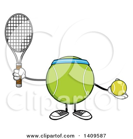 Clipart of a Cartoon Tennis Ball Character Mascot - Royalty Free Vector Illustration by Hit Toon