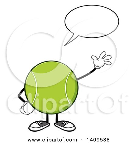 Clipart of a Cartoon Tennis Ball Character Mascot Talking and Waving - Royalty Free Vector Illustration by Hit Toon
