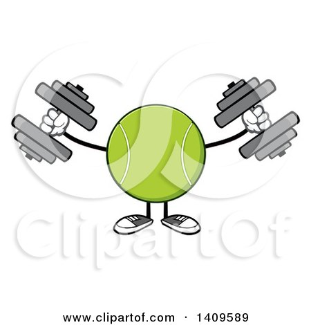 Clipart of a Cartoon Tennis Ball Character Mascot Working out with Dumbbells - Royalty Free Vector Illustration by Hit Toon