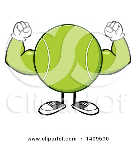 Clipart of a Cartoon Tennis Ball Character Mascot Flexing His Muscles - Royalty Free Vector Illustration by Hit Toon