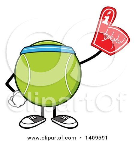 Clipart of a Cartoon Tennis Ball Character Mascot Wearing a Headband and a Foam Finger - Royalty Free Vector Illustration by Hit Toon