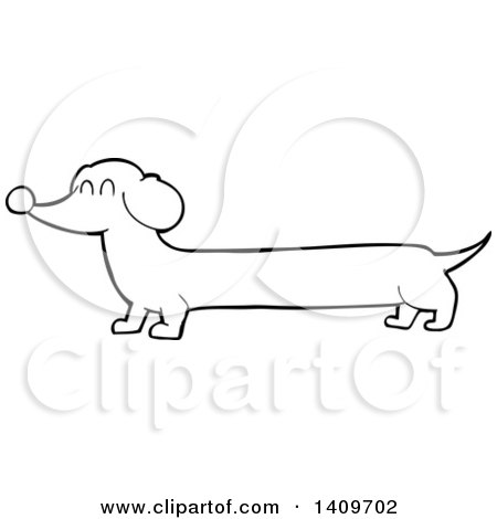 Clipart of a Cartoon Black and White Lineart Dachshund Dog - Royalty Free Vector Illustration by lineartestpilot