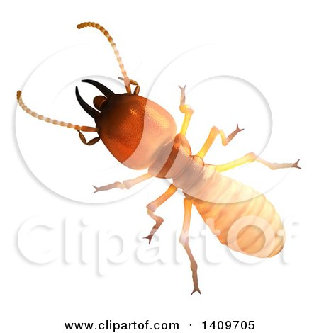 Clipart of a 3d Termite, on a White Background - Royalty Free Illustration by Leo Blanchette