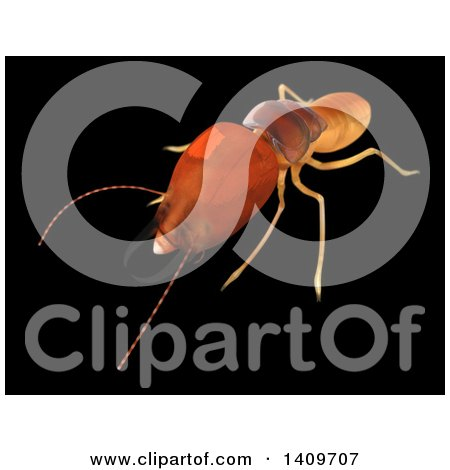 Clipart of a 3d Termite, on a Black Background - Royalty Free Illustration by Leo Blanchette