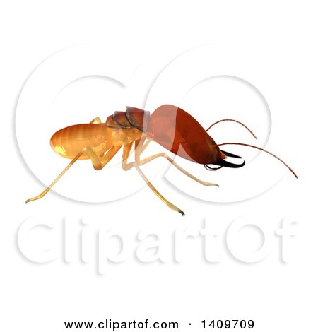 Clipart of a 3d Termite in Profile, on a White Background - Royalty Free Illustration by Leo Blanchette