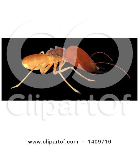 Clipart of a 3d Termite in Profile, on a Black Background - Royalty Free Illustration by Leo Blanchette