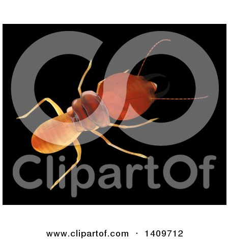 Clipart of a 3d Termite from Above, on a Black Background - Royalty Free Illustration by Leo Blanchette