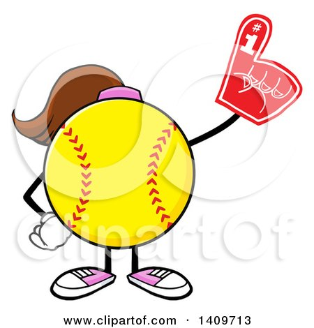 Clipart of a Cartoon Female Softball Character Mascot Wearing a Foam Finger - Royalty Free Vector Illustration by Hit Toon