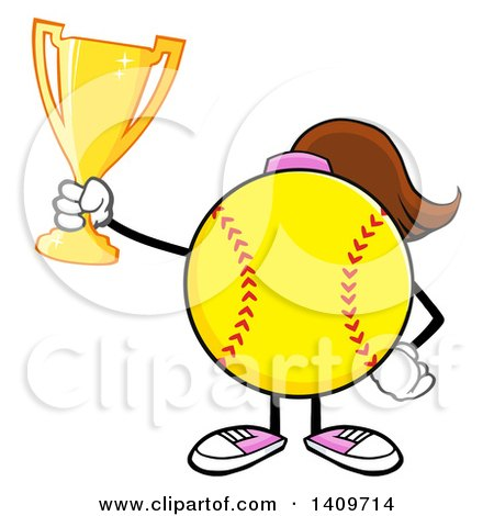 Clipart of a Cartoon Female Softball Character Mascot Holding a Trophy - Royalty Free Vector Illustration by Hit Toon