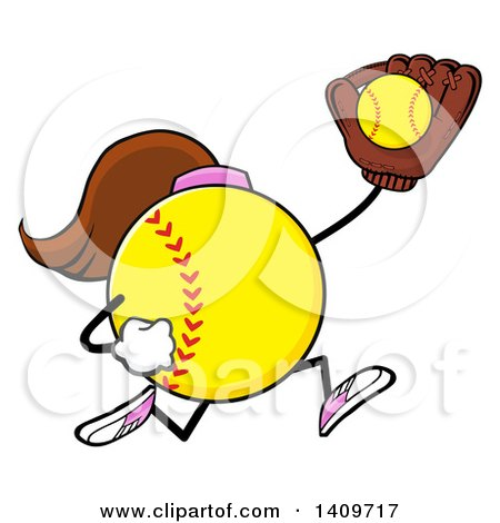 Clipart of a Cartoon Female Softball Character Mascot Running and Catching a Ball - Royalty Free Vector Illustration by Hit Toon