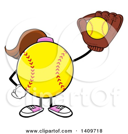 Clipart of a Cartoon Female Softball Character Mascot Catching a Ball - Royalty Free Vector Illustration by Hit Toon