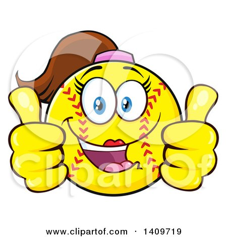 Clipart of a Cartoon Female Softball Character Mascot Giving Two Thumbs up - Royalty Free Vector Illustration by Hit Toon