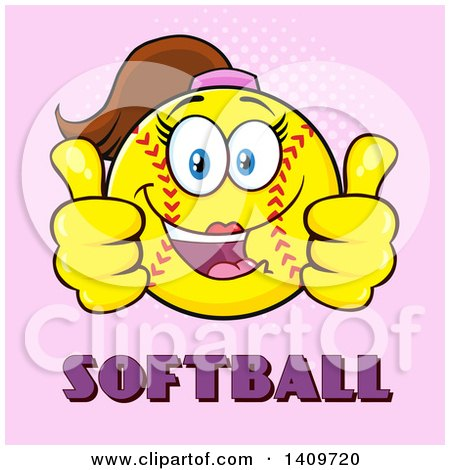 Clipart of a Cartoon Female Softball Character Mascot Giving Two Thumbs up over Text on Pink - Royalty Free Vector Illustration by Hit Toon