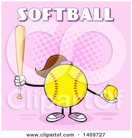 Clipart of a Cartoon Female Softball Character Mascot Holding a Bat and Ball, with Text on Pink - Royalty Free Vector Illustration by Hit Toon