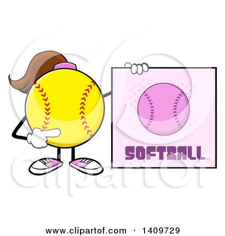 Clipart of a Cartoon Female Softball Character Mascot Holding a Sign - Royalty Free Vector Illustration by Hit Toon