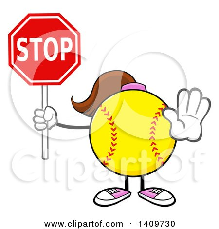 Clipart of a Cartoon Female Softball Character Mascot Gesturing and Holding a Stop Sign - Royalty Free Vector Illustration by Hit Toon