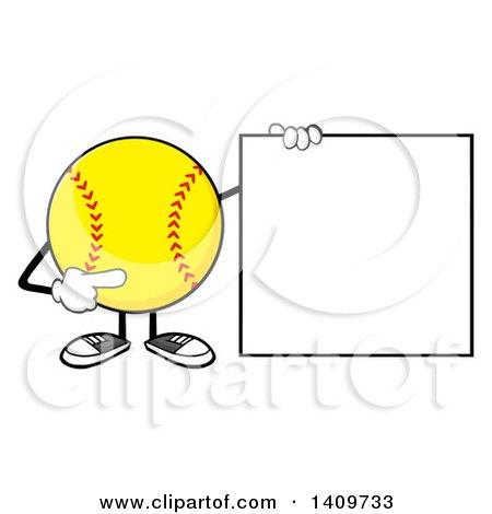 Clipart of a Cartoon Male Softball Character Mascot Holding and Pointing to a Blank Sign - Royalty Free Vector Illustration by Hit Toon