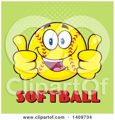 Clipart of a Cartoon Male Softball Character Mascot Giving Two Thumbs up over Text on Green - Royalty Free Vector Illustration by Hit Toon