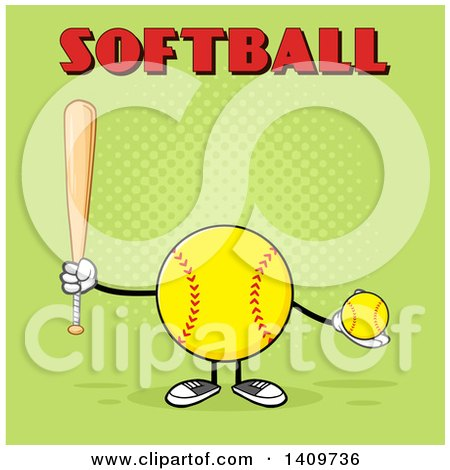 Clipart of a Cartoon Male Softball Character Mascot Holding a Bat and Ball, with Text on Green - Royalty Free Vector Illustration by Hit Toon