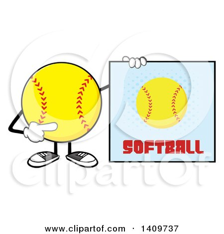Clipart of a Cartoon Male Softball Character Mascot Holding a Sign - Royalty Free Vector Illustration by Hit Toon