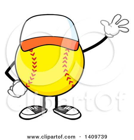 Clipart of a Cartoon Male Softball Character Mascot Wearing a Cap and Waving - Royalty Free Vector Illustration by Hit Toon