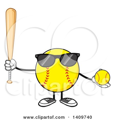 Clipart of a Cartoon Male Softball Character Mascot Wearing Sunglasses, Holding a Bat and Ball - Royalty Free Vector Illustration by Hit Toon