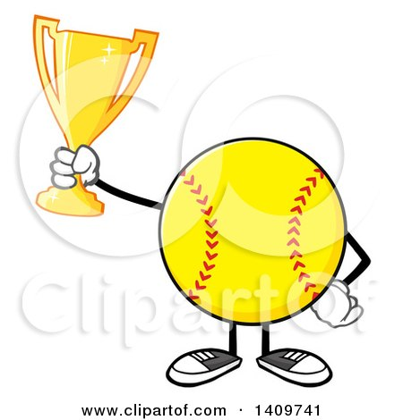 Clipart of a Cartoon Male Softball Character Mascot Holding a Trophy - Royalty Free Vector Illustration by Hit Toon