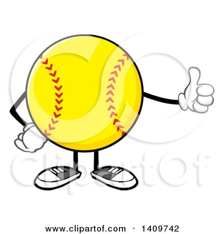 Clipart of a Cartoon Male Softball Character Mascot Giving a Thumb up - Royalty Free Vector Illustration by Hit Toon