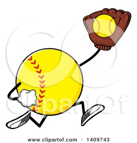 Clipart of a Cartoon Male Softball Character Mascot Running and Catching a Ball - Royalty Free Vector Illustration by Hit Toon