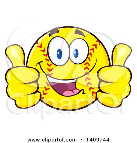 Clipart of a Cartoon Male Softball Character Mascot Giving Two Thumbs up - Royalty Free Vector Illustration by Hit Toon