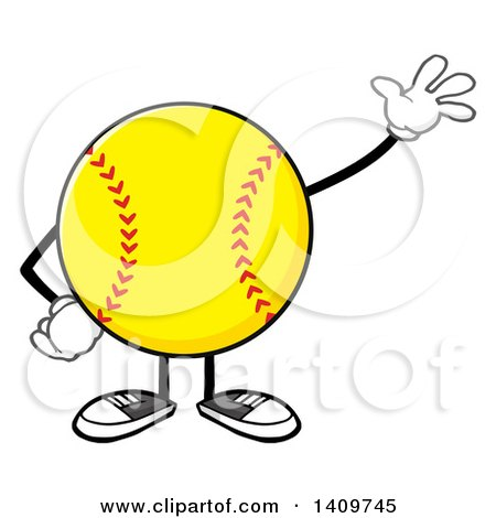 Clipart of a Cartoon Male Softball Character Mascot Waving - Royalty Free Vector Illustration by Hit Toon