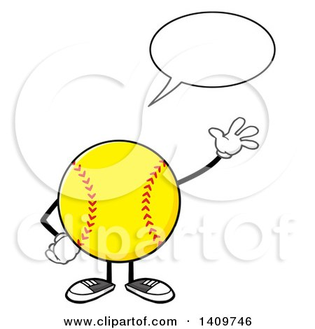 Clipart of a Cartoon Male Softball Character Mascot Talking and Waving - Royalty Free Vector Illustration by Hit Toon