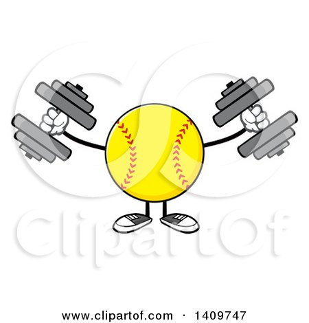 Clipart of a Cartoon Male Softball Character Mascot Working out with Dumbbells - Royalty Free Vector Illustration by Hit Toon