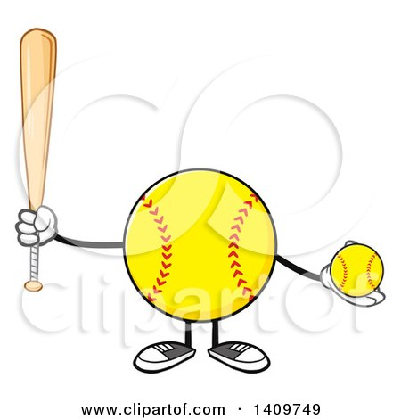 Clipart of a Cartoon Male Softball Character Mascot Holding a Bat and Ball - Royalty Free Vector Illustration by Hit Toon