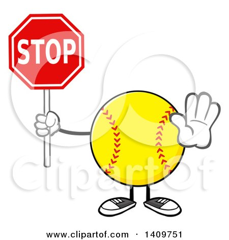 Clipart of a Cartoon Male Softball Character Mascot Gesturing and Holding a Stop Sign - Royalty Free Vector Illustration by Hit Toon