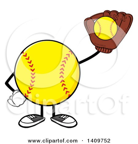 Clipart of a Cartoon Male Softball Character Mascot Catching a Ball - Royalty Free Vector Illustration by Hit Toon