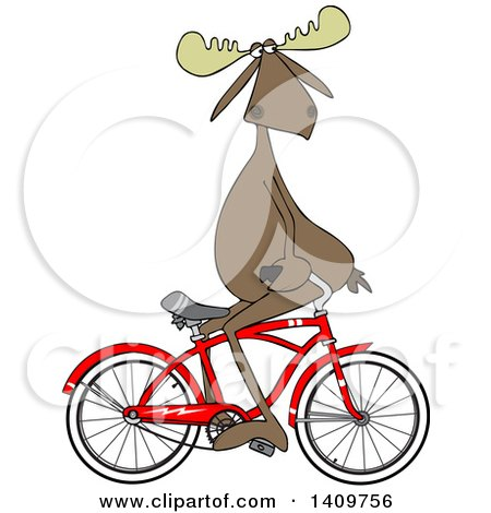 Cartoon Clipart of a Moose Sitting on Handelbars and Riding a Bicycle Backwards - Royalty Free Vector Illustration by djart