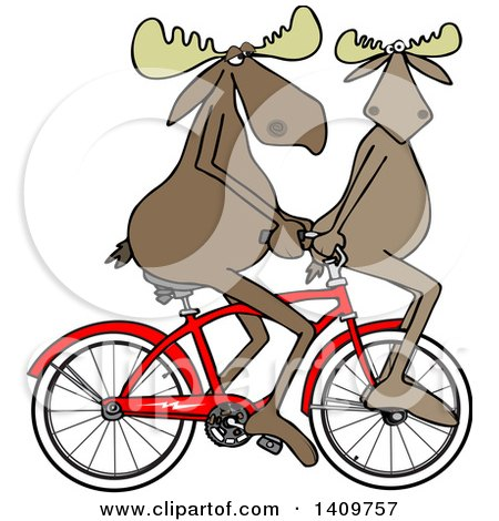 Cartoon Clipart of a Moose Couple Riding a Bicycle, One on the Handlebars - Royalty Free Vector Illustration by djart