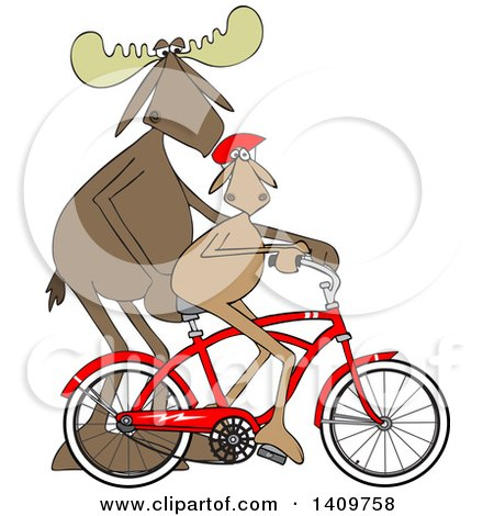 Cartoon Clipart of a Moose Father Teaching His Son How to Ride Bicycle - Royalty Free Vector Illustration by djart