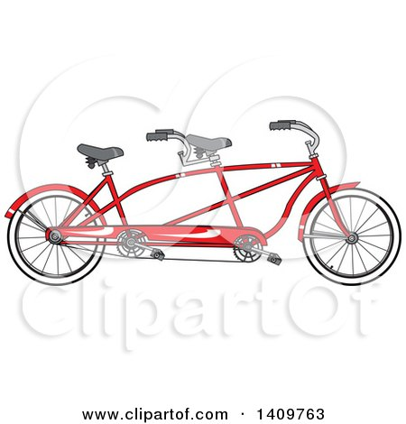 Cartoon Clipart of a Red Tandem Bicycle - Royalty Free Vector Illustration by djart