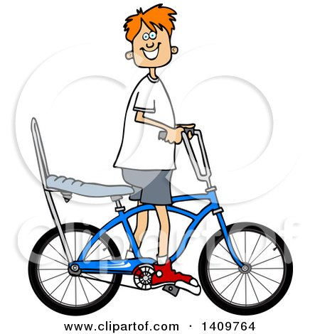 Cartoon Clipart of a Happy Red Haired Caucasian Boy Riding a Stingray Bicycle - Royalty Free Vector Illustration by djart